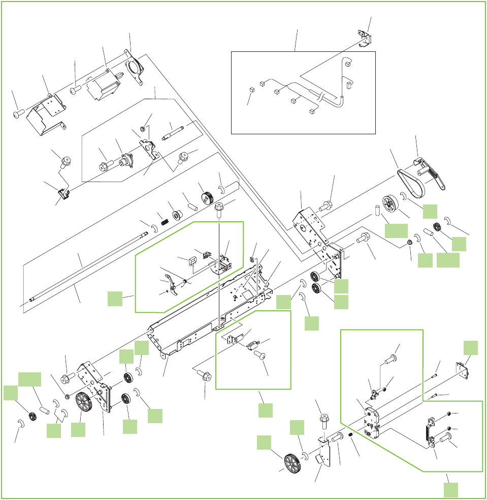 Figure 9-47 Output bin 1 (stack upper-tray assembly) (2 of 2)  (booklet-maker )