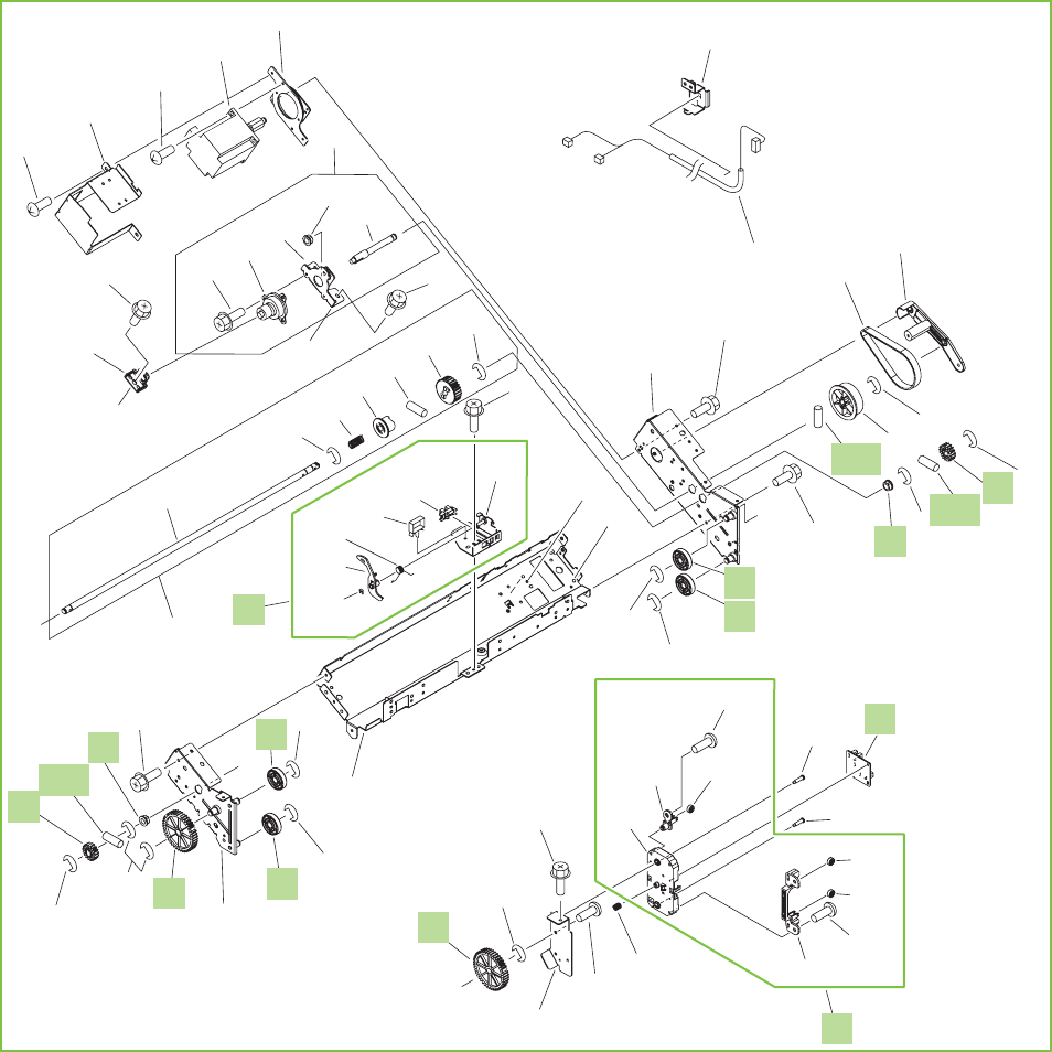 Figure 9-50 Output bin 2 (stack lower-tray assembly) (2 of 2)  (stapler/stacker and booklet-maker)