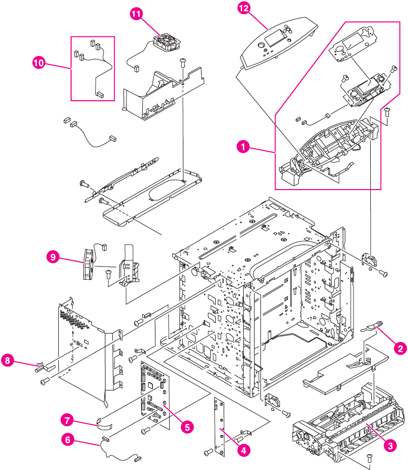 ENWW Illustrations and parts lists (printer) 483. Figure 8-8. Internal  components (4 of 9)