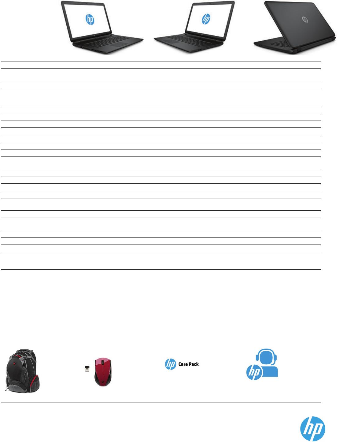 Datasheet HP Notebook 17-p051sa