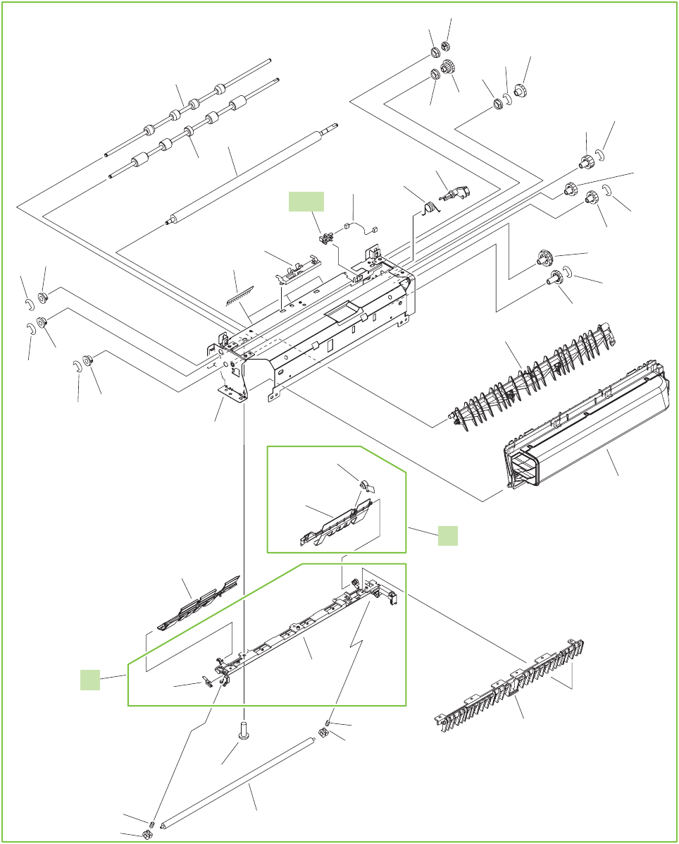 Figure 9-20 Printer face-down paper-delivery assembly