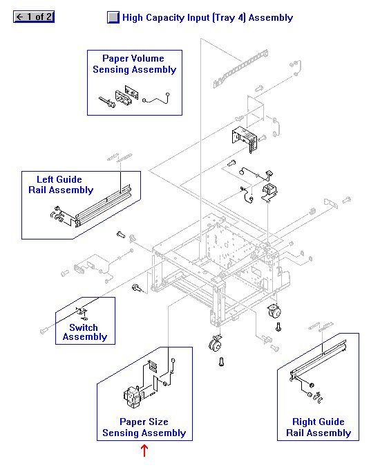 Paper size sensing assembly