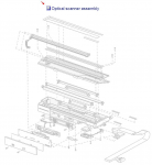 Scanner optical carriage assembly - Includes the optical scanner and light mounted on a carriage assembly - Passes under the document during the flatbed scanning operation - Mounts inside the flatbed scanner assembly