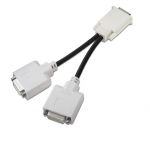 DVI 'Y' adapter cable with Molex DMS-59 connector - From 59-pin (M) high density LFH connector (60-pin connector layout with pin 58 missing) to two 25-pin DVI connectors, 20.3cm (8.0in) long
