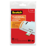 Scotch Business Card Size Thermal Laminating Pouch - 2.38 inch Width x 3.75 inch Length - 20 / Pack - Clear