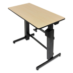 WorkFit-D Sit-Stand Desk (Birch Surface) - Rectangle - 47.60 inch x 23.50 inch x 50.6 inch - Steel Metal Wood Grain - Black Birch Top
