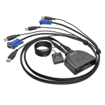 2-PORT USB / VGA KVM SWITCH CABLE with AUDIO & PERIPHERAL SHARING
