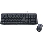 SLIMLINE CORDED USB KEYBOARD AND MOUSE BLACK