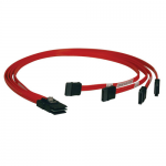 3ft Internal SAS Cable 4-Lane Mini-SAS SFF-8087 to 4x SATA 7Pin 3 feet - SATA / SAS cable - 4-Lane - 7 pin SATA (F) to 36 pin 4i Mini MultiLane (M) - 3 ft - red