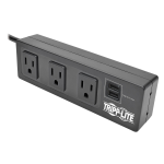 3-OUTLET SURGE PROTECTOR POWER STRIP W/2-PORT USB CHARGING BLACK