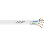 1000-FT WHITE CAT6 SOLID C ABLE 550MHZ UTP CMR PULL BOX