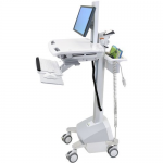 StyleView EMR Cart with LCD Pivot LiFe Powered - Cart for LCD display / keyboard / mouse / bar code scanner / CPU - plastic aluminum zinc-plated steel - gray white polished aluminum - screen size: up to 22 inch - mounting interface: 100 x 100 mm 75