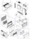 MP/Tray 1 support assembly - Hinged support and adjustable paper width guide assembly - Tray 1 cover assembly attaches to this assembly