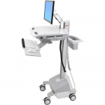 StyleView EMR Cart with LCD Arm LiFe Powered - Cart for LCD display / keyboard / mouse / CPU / notebook / barcode scanner - plastic aluminum zinc-plated steel - gray white polished aluminum - screen size: up to 22 inch