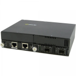 10 Gigabit Ethernet IP-Managed Stand-Alone Media Converter with Dual SFP+ Slots - Yes - 10GBase-X - 2 x Expansion Slots - 2 x SFP+ Slots - Wall Mountable Rail-mountable Rack-mountable
