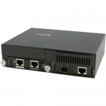 10 Gigabit Ethernet Managed Stand-Alone Media Converter - 1 x Network (RJ-45) - Yes - 10GBase-T 10GBase-X - 1 x Expansion Slots - 1x XFP Slots - Wall Mountable Rail-mountable Rack-mountable