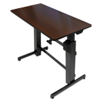 WorkFit-D Sit-Stand Desk (Walnut Surface) - Rectangle - 47.6 inch x 23.5 inch x 50.6 inch - Steel Metal Wood Grain - Black Walnut Top