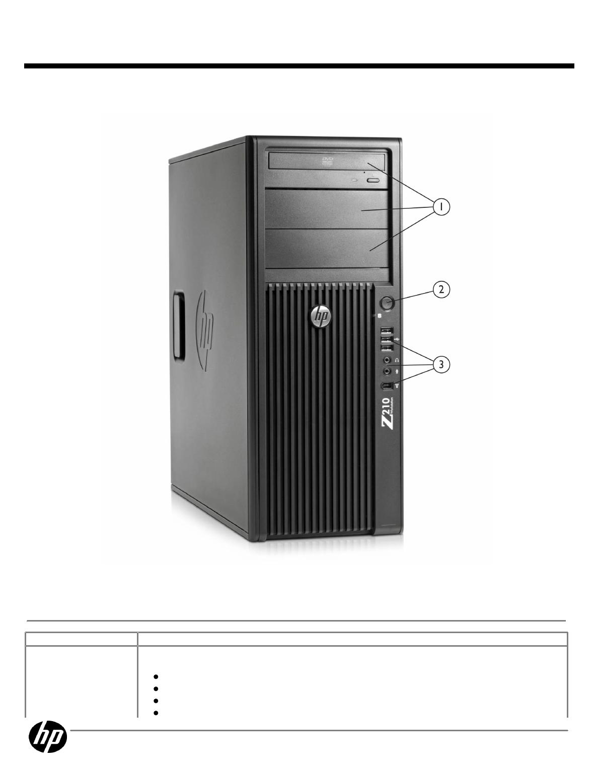 QuickSpecs HP Z210 CMT Workstation