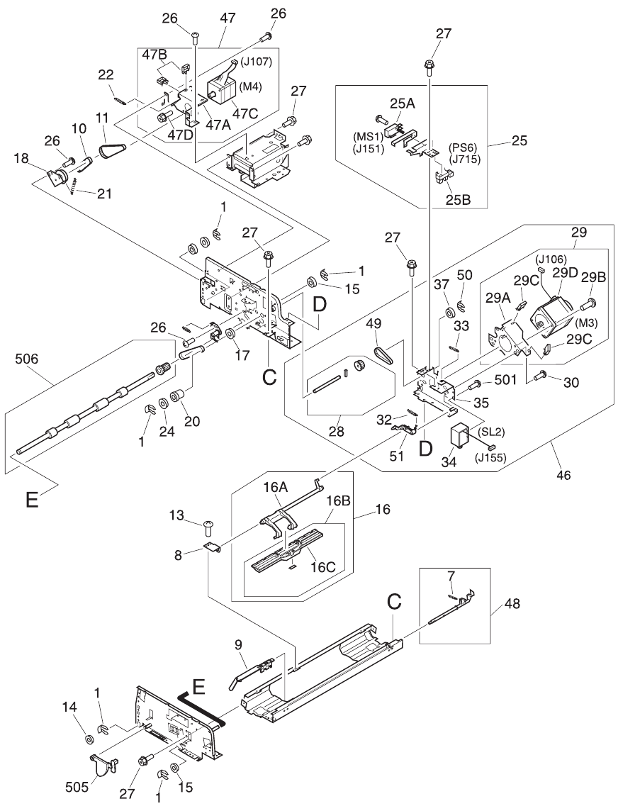 Scanner Adf Service Manual For The Hp Laserjet 9000mfp 9000lmfp Flatbed Assembly Parts Diagram 3 Of Enww Illustrations And Lists 343