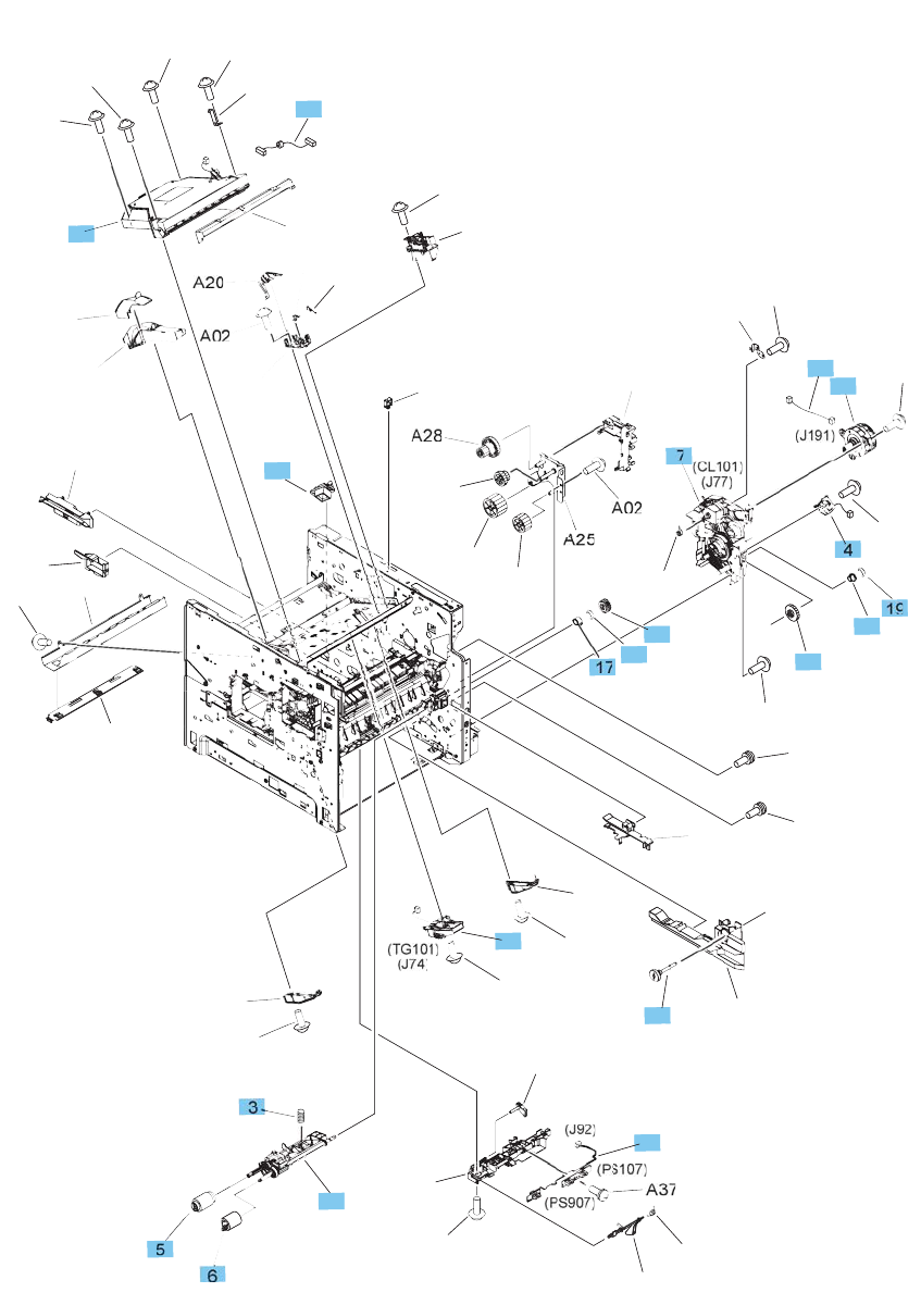 E6b67 67904 Hp New Laserjet Ent M604 M605 M606 Transfer Roller Assembly Altec Lansing 7 Wiring Diagram Pinout Find A Guide With Internal Components 2 Of 3
