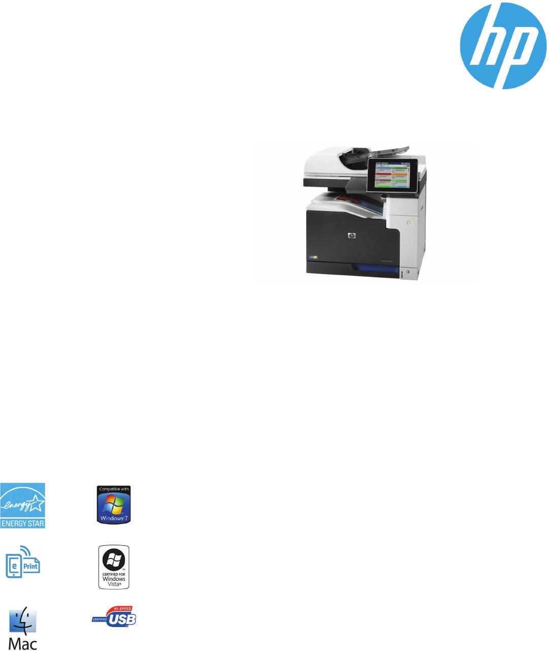 Datasheet HP LaserJet Enterprise 700 color MFP M775dn