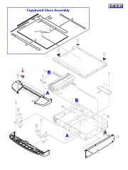 Glass mount cover - Small plastic piece that covers the mounting hardware used to retain the copyboard glass - Mounts in the recesses on the scanner assembly upper front cover (two used)