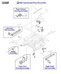 Stationary rear caster - Mounts on the bottom frame of the 2 000-sheet paper feeder assembly (two used)