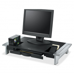 Office Suites Premium Monitor Riser - Up to 21 inch Screen Support - 80 lb Load Capacity - CRT Display Type Supported - 4.2 inch Height x 27 inch Width x 14.1 inch Depth - Desktop - Silver Black