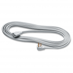 Heavy Duty Indoor 15 feet Extension Cord - 125 V AC Voltage Rating - 15 A Current Rating - Gray