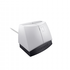 PALE GREY WITH BLACK BASE PCSC EMV SMART CARD READER USB CAC AND FIPS 201 CERTIFIED TAA COMPLIANT