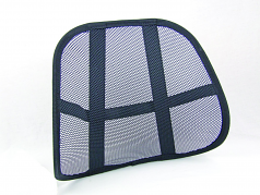 DESIGNED TO ATTACH EASILY TO ANY CHAIR THE BACK SUPPORT REDUCES TENSION BY MAIN