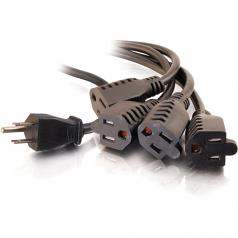 6ft 16 AWG 1-to-4 Power Cord Splitter (1 NEMA 5-15P to 4 NEMA 5-15R) - Power splitter - NEMA 5-15 (M) to NEMA 5-15 (F) - 6 ft - black