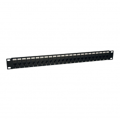 24-Port Cat6 Cat5 Patch Panel Feed Through Rackmount 568A/B RJ45 1URM TAA - Patch panel - wall mountable - black - 1U - 19 inch - 24 ports - for Tripp Lite N252-024-HU N252-024-V