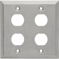 RJ45 BULKHEAD WALL PLATE 4 CUTOUTS INDUSTRIAL METAL - STAINLESS STEEL IP44