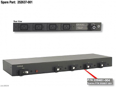 40A high voltage power distribution unit (PDU) core assembly - 200VAC-240VAC 47-63Hz 40A - Rack mount box with field wire input terminals and four C19 (F) connectors for power strips (sticks)