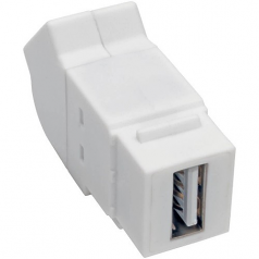 USB 2.0 ALL-IN-ONE KEYSTONE/PANEL MOUNT ANGLED COUPLER (F/F)  WHITE