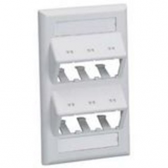 MINI-COM Classic Series Sloped Faceplates with Label and Label Cover - Faceplate - electric ivory - 1-gang - 6 ports