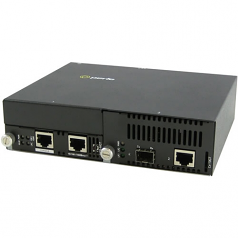10 Gigabit Ethernet Managed Stand-Alone Media Converter - 1 x Network (RJ-45) - Yes - 10GBase-T 10GBase-X - 1 x Expansion Slots - 1 x SFP+ Slots - Wall Mountable Rail-mountable Rack-mountable