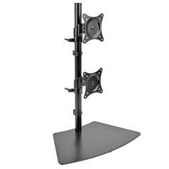 Dual Vertical Flat-Screen Desk Mount Monitor Stand Clamp Swivel Tilt 15 inch to 27 inch Flat Screen Displays - Desk mount for 2 LCD displays - metal - black - screen size: 15 inch -27 inch