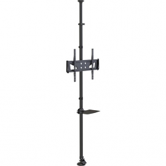 Floor-to-Ceiling Mount for 32 inch to 65 inch TVs and Monitors - Height Adjustable Shelf for A/V Source - Ceiling mount for TV and monitor - steel - black - screen size: 32 inch -65 inch - ceiling mountable floor-standing