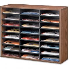 Literature Organizer - 24 Compartment Letter Medium Oak - 23.4 inch Height x 29 inch Width x 11.9 inch Depth - 24 Compartment(s) - Wood Fiberboard - Medium Oak