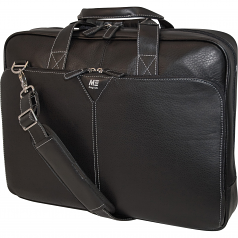 Edge 16 inch Deluxe Leather Briefcase - 16 inch Screen Support - 13 inch x 17 inch x 4 inch - Leather - Black