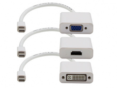 5 Pack 8in Mini-DP to VGA Adapter Cable - Video converter - DisplayPort - VGA - white - with Mini DisplayPort-HDMI cable Mini DisplayPort-DVI cable