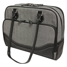 Edge Carrying Case (Tote) for 17 inch Notebook Ultrabook - Black White - Faux Leather Polyester - Herringbone - Trolley Strap Shoulder Strap