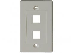 Dual Outlet RJ45 Universal Keystone Face Plate / Wall Plate - Faceplate - white - 1-gang - 2 ports