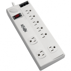 8-Outlet Surge Protector with DSL/Phone Line/Modem Surge Protection - 3150 Joules 6 ft. Cord - Surge protector - 15 A - AC 120 V - 1800 Watt - output connectors: 8 - 6 ft - cool gray - TAA Compliant