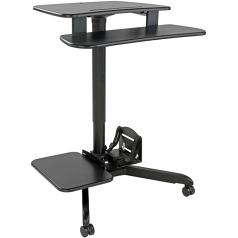 Mobile Workstation Standing Desk Rolling Cart Height-Adjustable - Cart (fasteners keyboard shelf wrench monitor shelf) for LCD display / keyboard / mouse / CPU / notebook - MDF steel - black silver