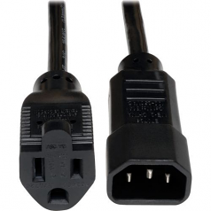 Standard Computer Power Cord 10A 18AWG C14 to 5-15R - Power cable - NEMA 5-15 (F) to IEC 60320 C14 - AC 110 V - 1 ft - black