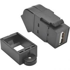 USB 2.0 KEYSTONE PANEL MOUNT COUPLER ALL-IN-ONE ANGLED F/F BLACK