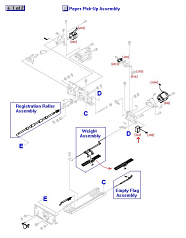 Solenoid (24 VDC) assembly - Activates the paper feed shutter assembly - Mounts on the rear frame of the ADF paper pick-up assembly towards the right